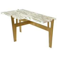 "Contemporary Handcrafted Table ""Anisetus"" in Brass and Marble, 1stdibs New York"