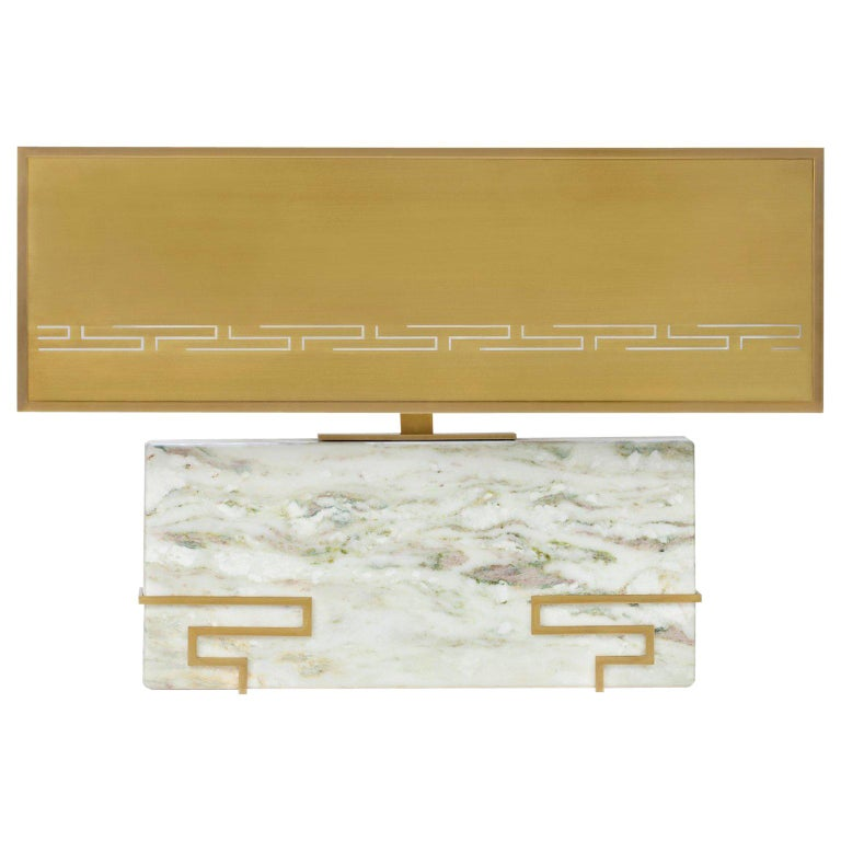 """Contemporary Handcrafted Table Lamp """"Hypnos"""", Marble and Brass, 1stdibs New York For Sale"""