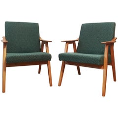 Green Vintage Armchairs, 1960s, Pair