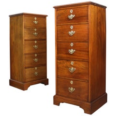 Pair of Antique Scottish Late Victorian Mahogany Collector's Chests