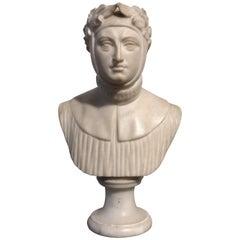 19th Century White Marble Sculpture Dante Alighieri Provenance Gianni Versace