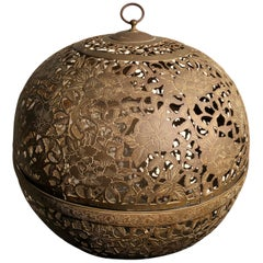 "Japan Antique Huge Gold Gilt ""Flower"" Globe Lantern, Exquisite Details"