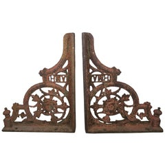 "Pair of 19th Century American Painted Cast Iron Architectural Brackets ""AMH"""