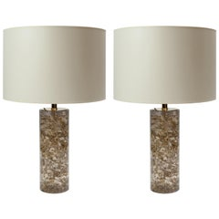 Pair of Transparent Fractal Resin and Gold Leaves Table Lamps