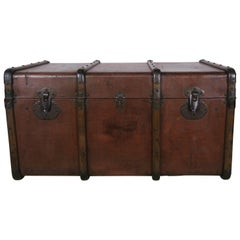 19th Century French Leather Blanket Chest