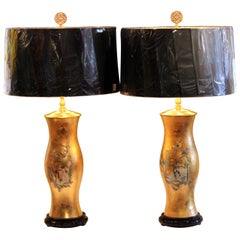 Pair of Large Eglomise Chinoiserie Gilt Decalcomania Vintage Vase Lamps