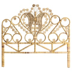 Rattan and Wicker Peacock Queen Size Headboard