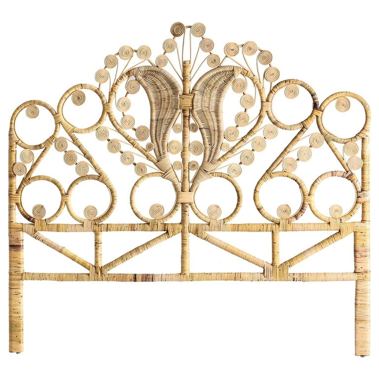 Rattan and Wicker Peacock Queen Size Headboard For Sale