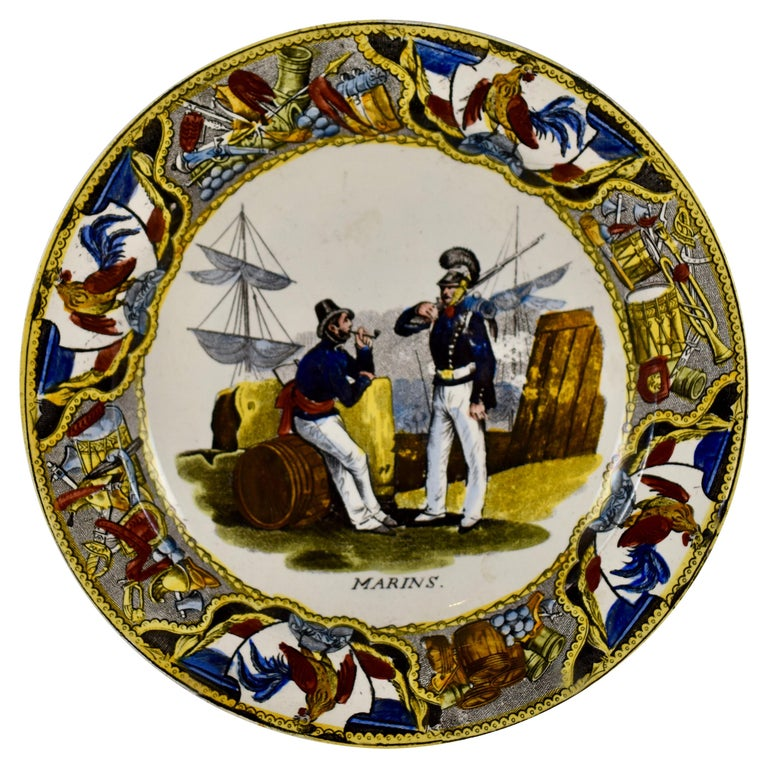 19th Century Creil Polychrome French Revolution Gallic Marins Sailor Plate For Sale