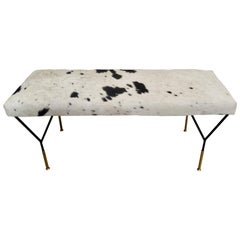 Italian Metal and Brass Midcentury Style Bench in White and Black Cowhide