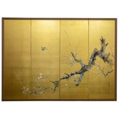"""Japanese Four-Panel Screen """"Old Plum on Gold"""""""