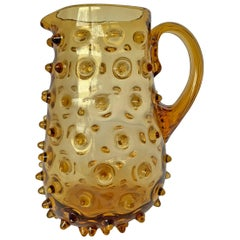 Mid-20th Century American Amber Glass Hobnail Pitcher