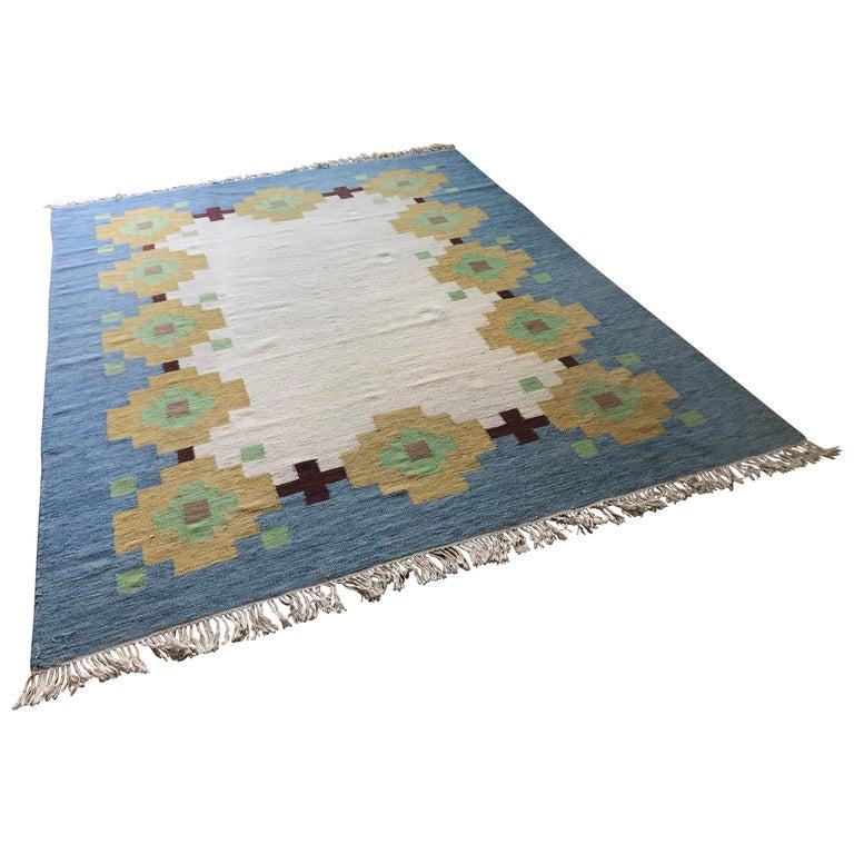 Large 1960s Geometric Indian Wool Handmade Area Rug Navajo Style For Sale