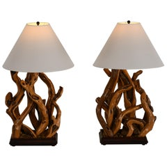 Pair of Driftwood Table Lamps, 1960s