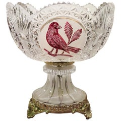 20th Century Elegant Centrepiece in Crystal and Gilded Bronze