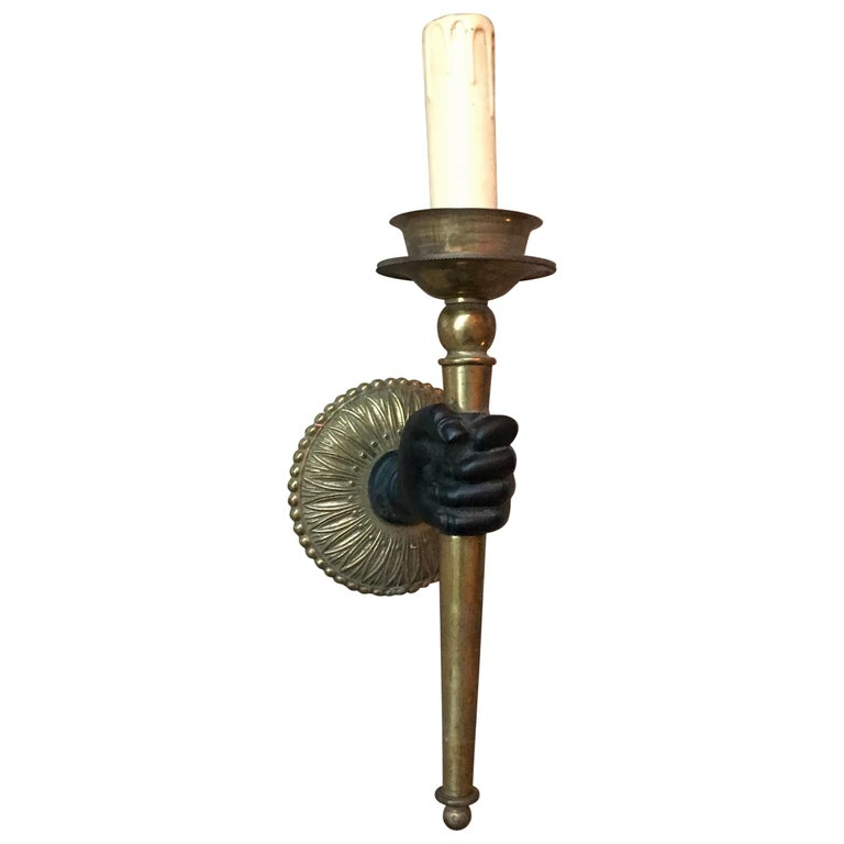 Striking Maison Baguès Style Solid Bronze Hand W Br Torch Wall Sconce Lamp