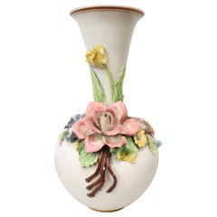 20th Century Artistic Hand Painted Ceramic Vase with Floral Decoration, 1920s