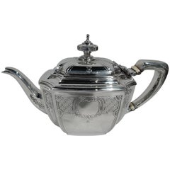 Antique Tiffany Sterling Silver Teapot in Engraved Hampton Pattern