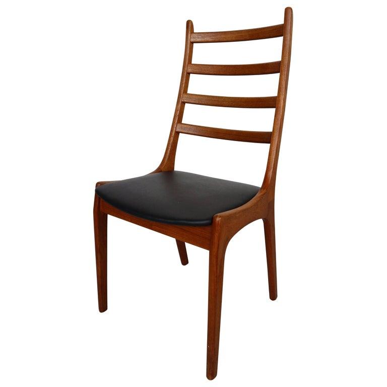 Danish Modern Teak Ladder Back Dining Chairs by Kai Kristiansen For Sale