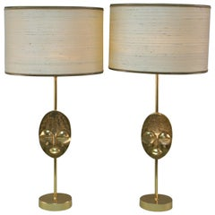 Pair of Late 20th Century Gilt Bronze Table Lamp by Fondica