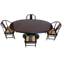 Vintage Henredon Black Lacquer and Burl Dining Set