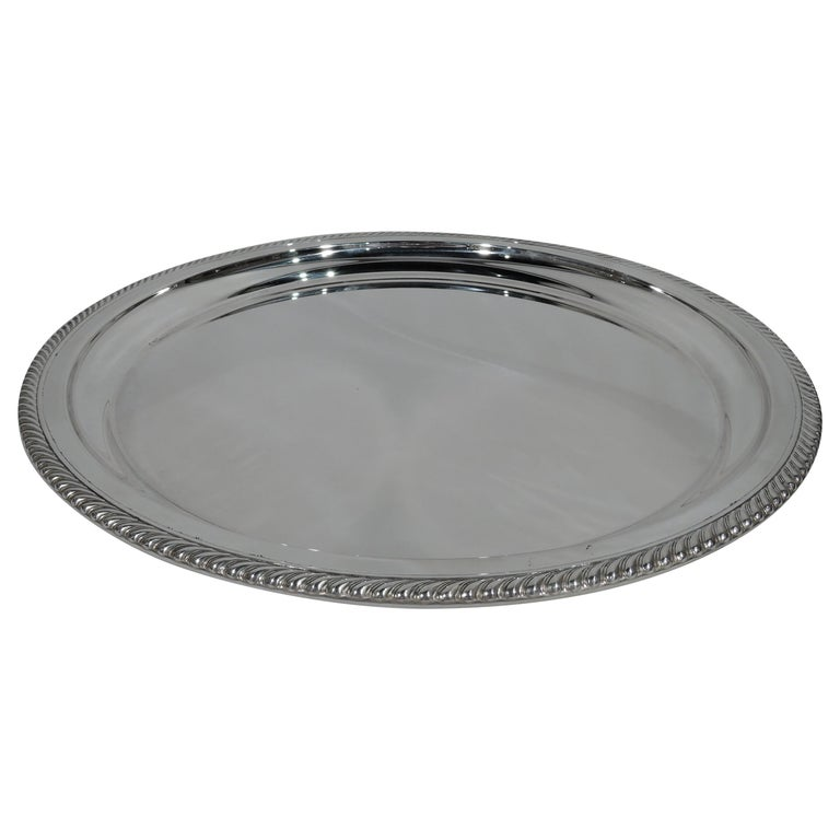 Gorham Deep and Round Sterling Silver Serving Tray For Sale