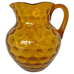20th Century American Dimpled Amber Glass Pitcher