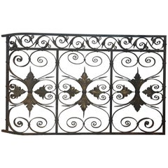 Late 19th Century Ornate Wrought Iron Grilles or Balcony Railing