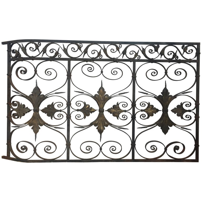 Late 19th Century Ornate Wrought Iron Grilles or Balcony Railing For Sale