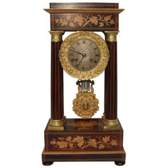 French Belle Époque Rosewood and Satinwood Portico Mantel Clock