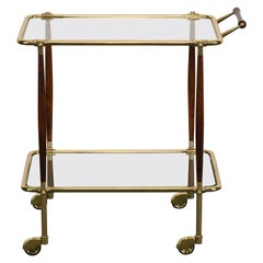 Brass and Rosewood Bar Cart in the manner of Cesare Lacca, 1960s