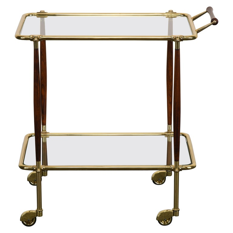 Brass and Rosewood Bar Cart in the manner of Cesare Lacca, 1960s For Sale