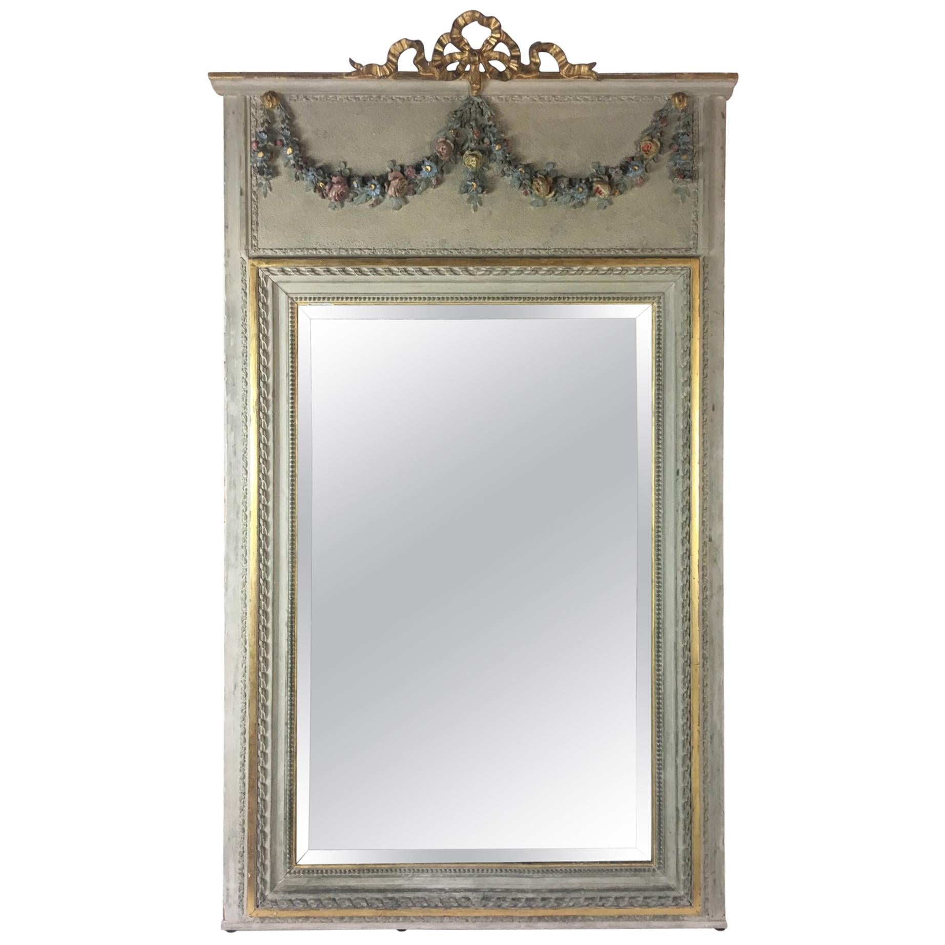 Late 19th Century Gilded Trumeau Mirror