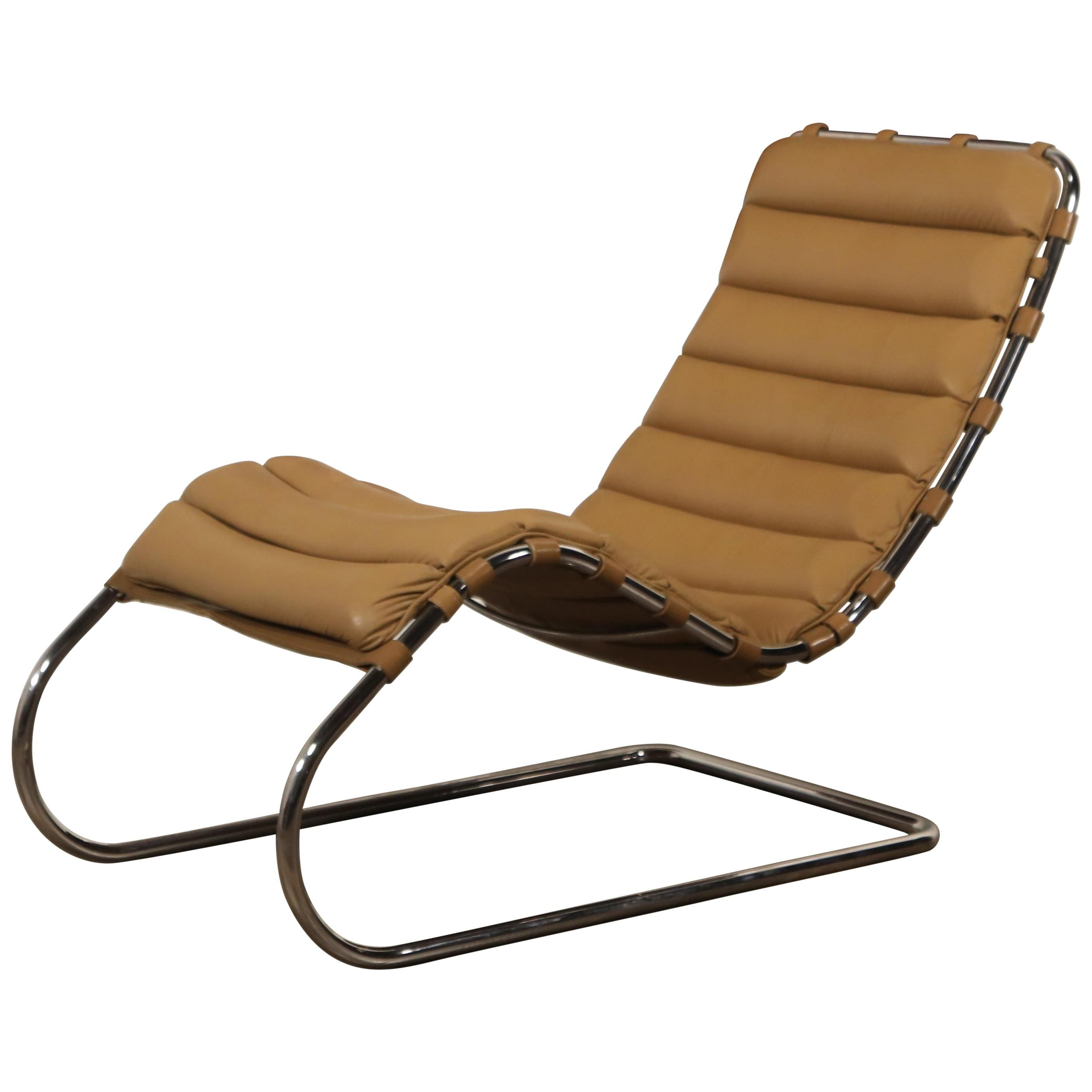 MR Chaise Lounge Chair By Mies Van Der Rohe For Knoll International, Signed  1978 For