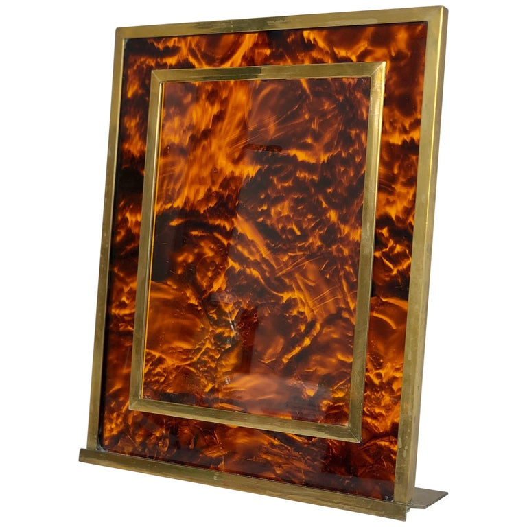 Tortoiseshell Lucite and Brass Picture Photo Frame Christian Dior Style, 1970s For Sale