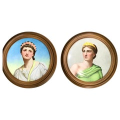 "Pair of Antique English Grand Tour Portrait Plaques ""Hera & Rhodus"""