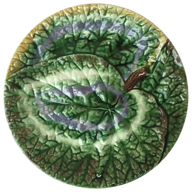 19th Century English Majolica Begonia Plate For Sale