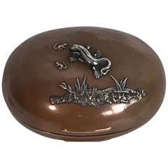 Gorham Mixed Metal Aesthetic Lizard Motif Oval Box, 1879