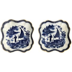 Pair of Antique English Blue and White Chinoiserie Square Bowls by Caughley