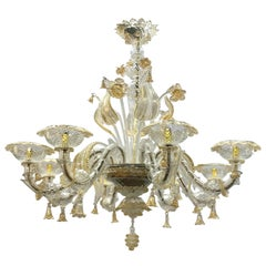 Monumental Gold Murano Glass Italy Large Chandelier