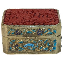 Chinese Export Silver Vermeil Enamel Cinnabar Box