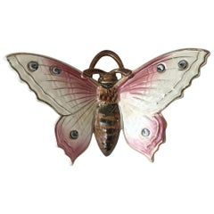 Majolica Pink Butterfly Wall Pocket Fives Lille, circa 1900
