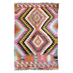 Turkish Kilim Flat-Weave Tribal Rug with Diamond Geometric Patterns in Pink Yell