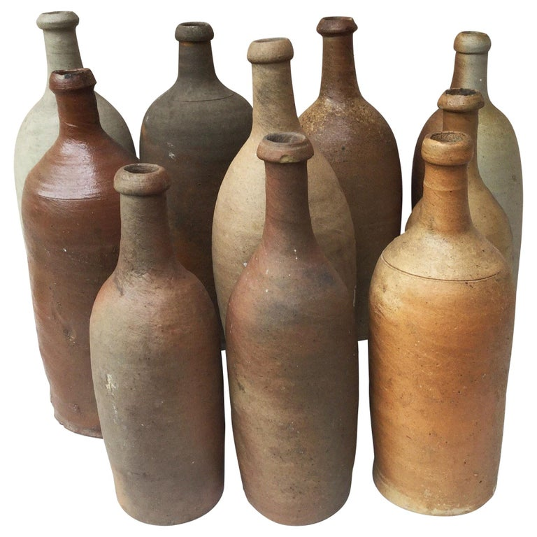 19th Century French Pottery Cider Bottle from Normandy For Sale