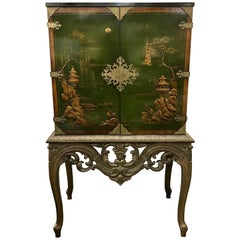 Asian Green Chinoiserie Cabinet Bar Sideboard Server Buffet on Carved Stand