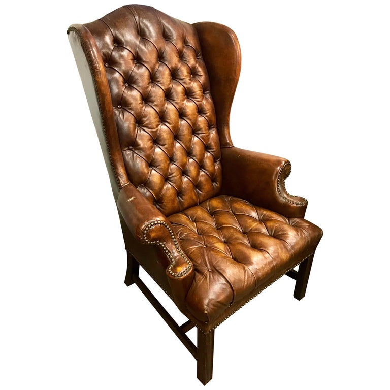 English Brown Leather Tufted Chesterfield Wingback Chair For Sale At