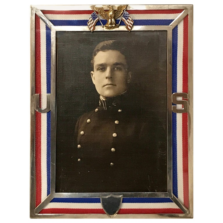 US Military Sterling and Gold US Emblem Motif Frame, WWI Era, Theodore B. Starr For Sale