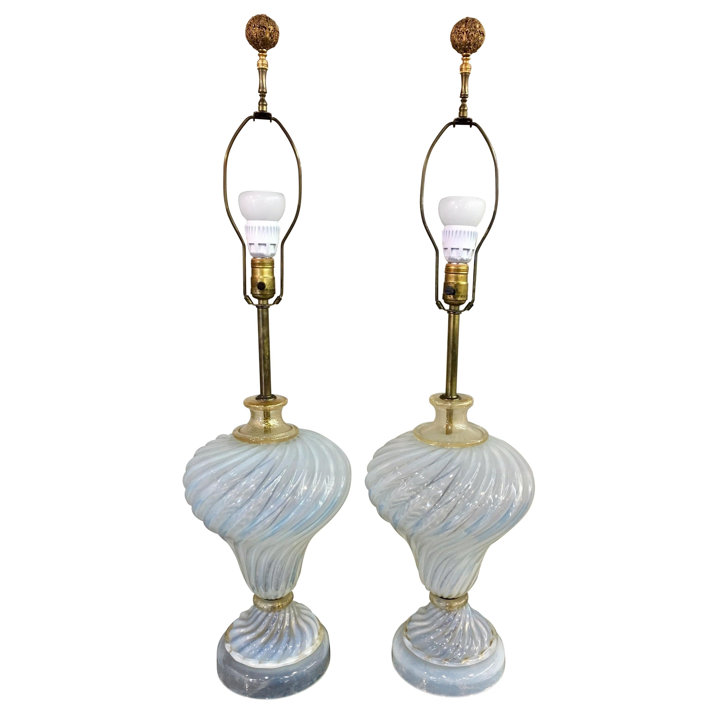 Murano Glass Italy Pair of Table Lamps
