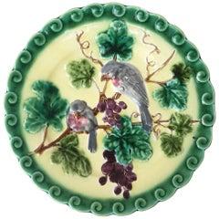 Majolica Plate Birds with Grapes Sarreguemines, circa 1880