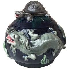 Majolica Palissy Dragons Tobacco Jar Thomas Sergent, circa 1880
